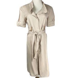 COSTUME NATIONAL khaki utility Silk Belted Dress